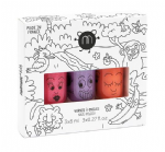'Jungle' set of 3 (Pink Glitter/Purple Glitter/Orange) - nailmatic® kids - water based nail polish